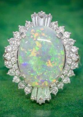 Vintage Opal Diamond Cluster Ring Platinum 3.47ct Opal, Laurelle Antique Jewellery