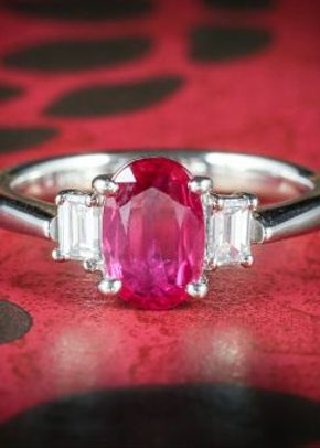 Vintage Ruby Diamond Trilogy Ring 18ct Gold, Laurelle Antique Jewellery