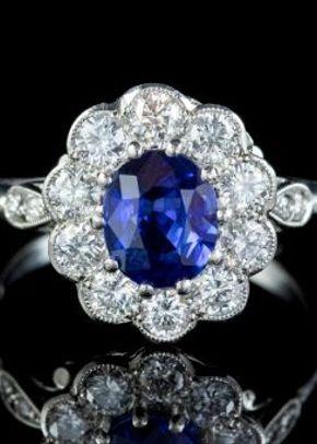 Vintage Sapphire Diamond Cluster Engagement Ring Platinum 1.40ct Sapphire 1.10ct Diamond, Laurelle Antique Jewellery