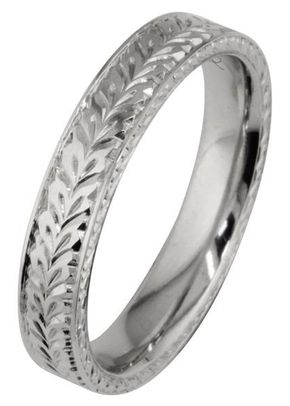 4mm Patterned Men's Wedding Band in Platinum, London Victorian Ring Co