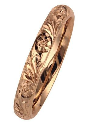 Camellia Flower Patterned Wedding Ring in Rose Gold, London Victorian Ring Co
