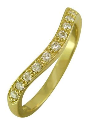 Curved Diamond Wedding Ring in 18ct Yellow Gold, London Victorian Ring Co