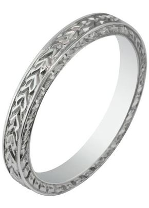 Laurel Engraved Wedding Ring, London Victorian Ring Co