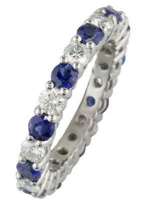 Sapphire and Diamond Wedding/Eternity Ring, London Victorian Ring Co