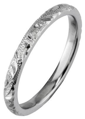 Slim and Elegant Hand Engraved Wedding Ring, London Victorian Ring Co