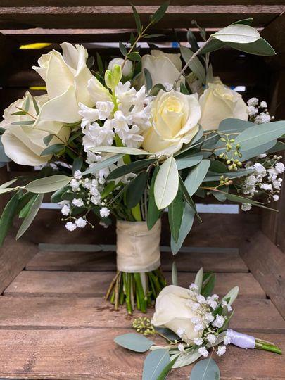 Hyacinths, roses & gypsophilia