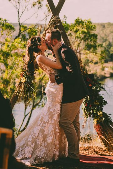 First kiss as a married couple - Kim Burrows Photography