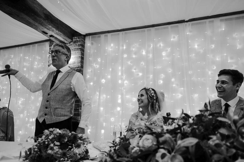 Laughing during wedding speech
