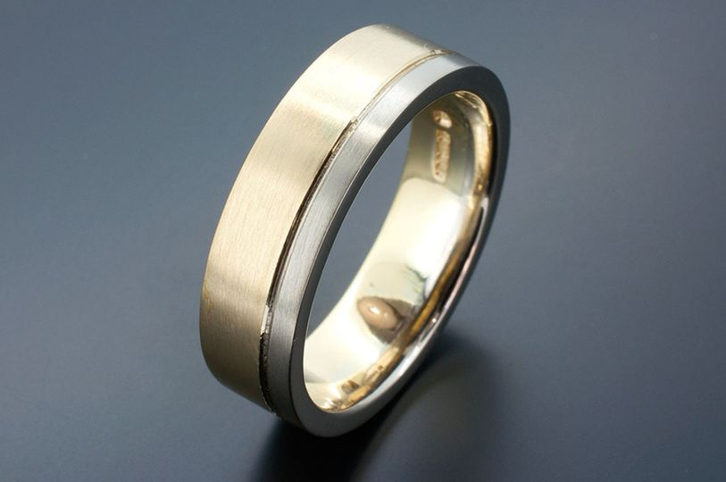 White + Red gold wedding band
