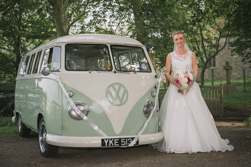 Bride and camper van