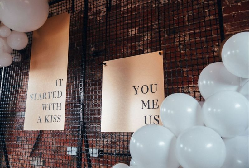 Brushed gold wedding signs