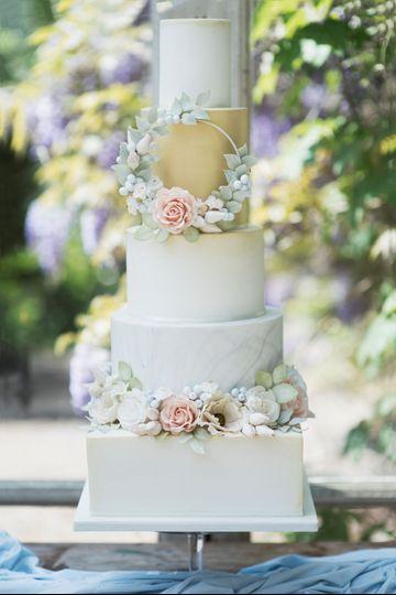 Spring floral hoop cake