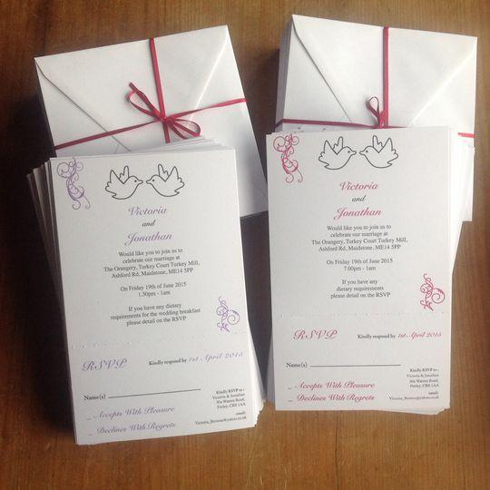 Printed wedding invites