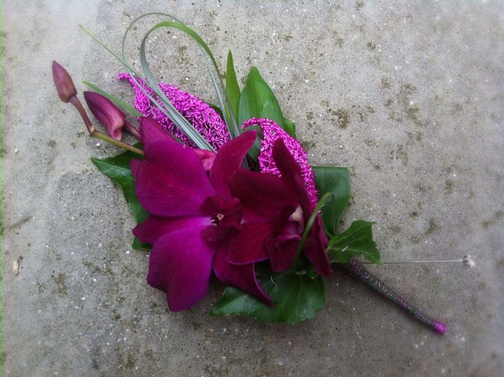 Hot pink orchid buttonhole