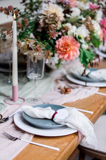Place setting and candle