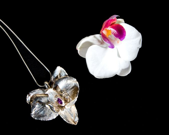 Orchid with Cubic Zirconia