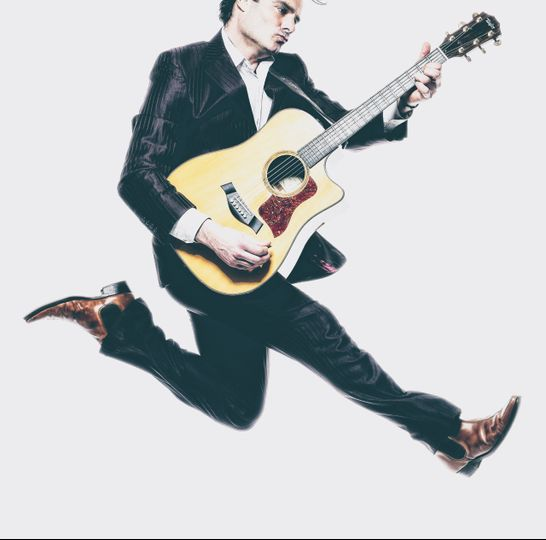Jumping with guitar