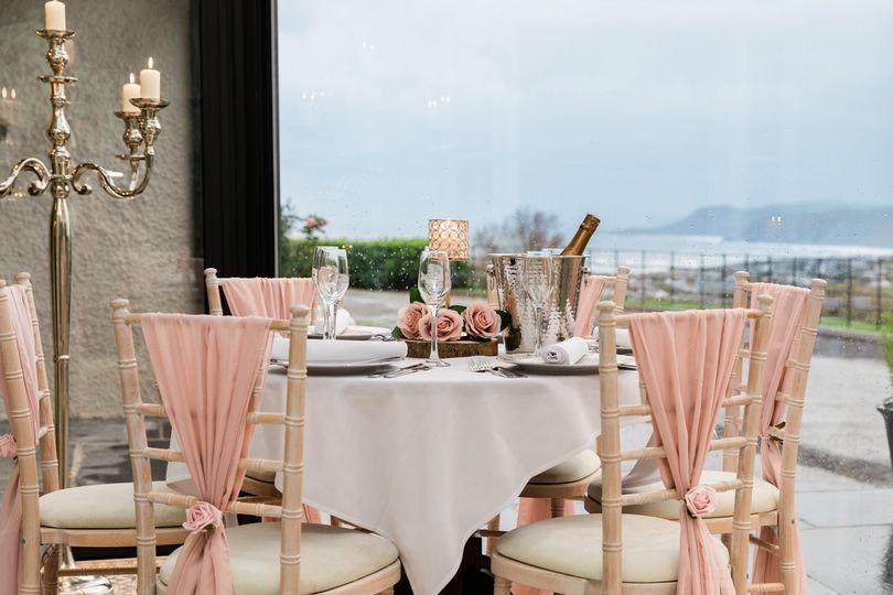 Romantic wedding breakfast