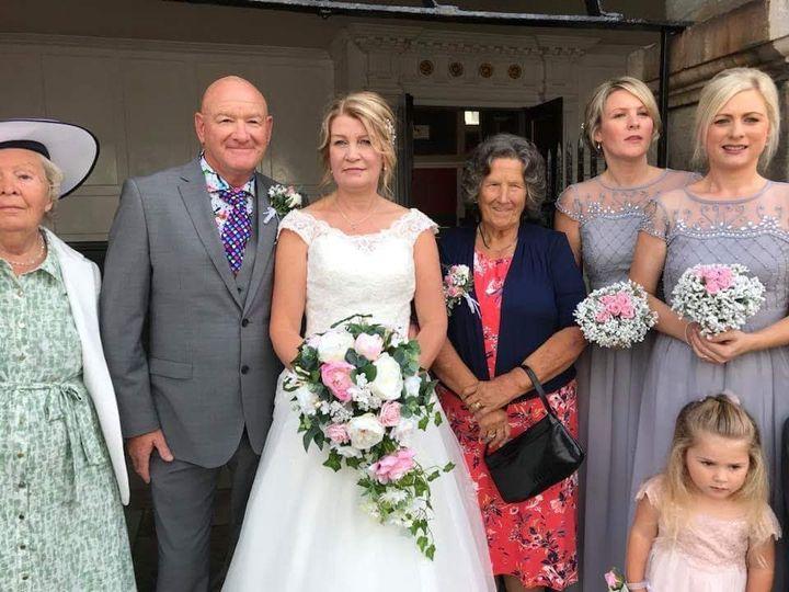 Bride with artificial bouquet