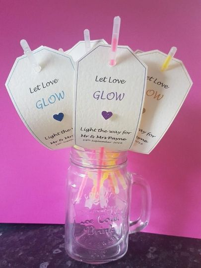 Glow stick/sparkler tags sign