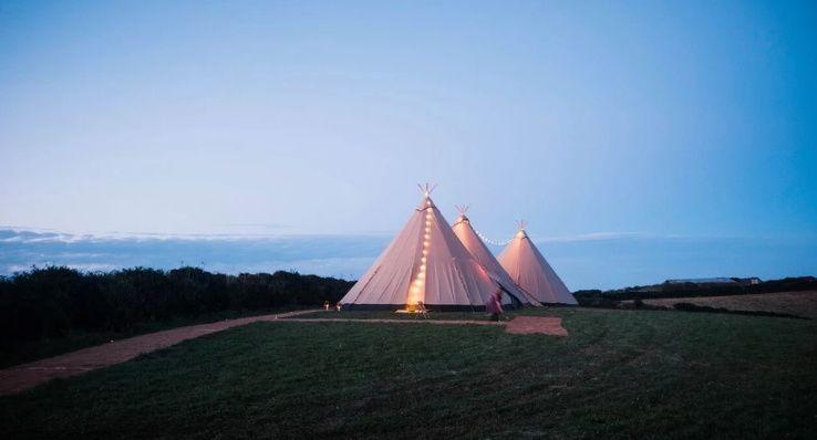 Tipi wedding in scenic Cornwall