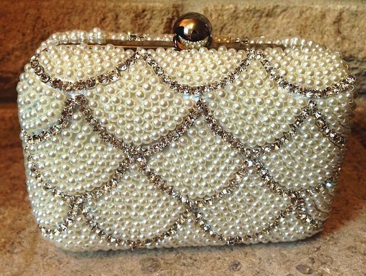 Pearl & diamante clutch