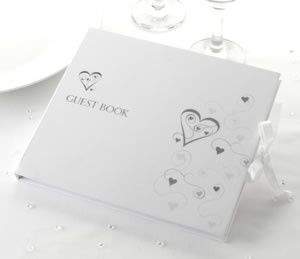 silver hearts design guestbook