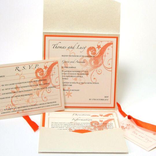 Pocket fold invitation orange