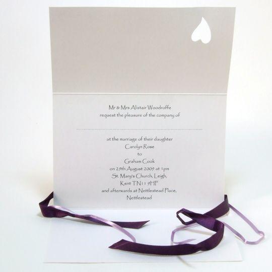 Ribbon & heart invitation