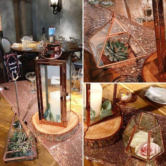 Rose gold lanterns & terrarium