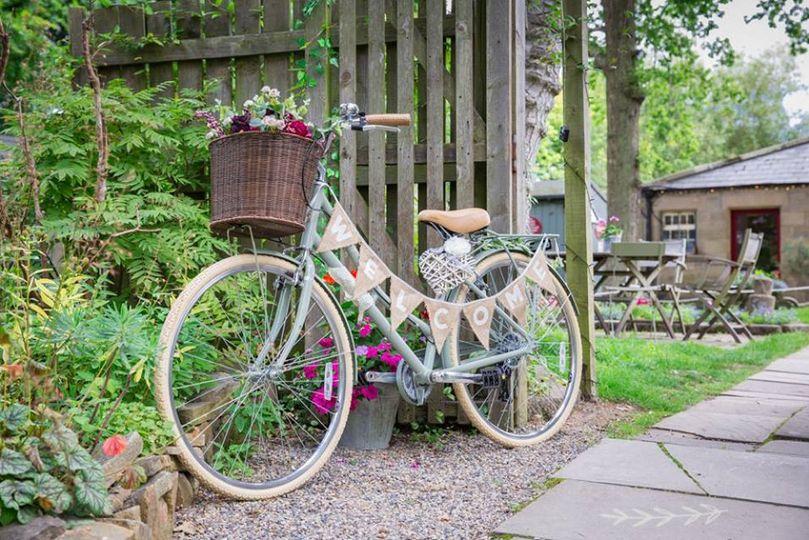 Vintage bike hessian bunting