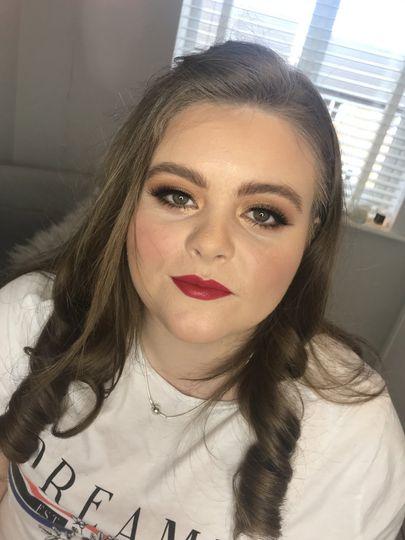 Red lip glam wedding makeup