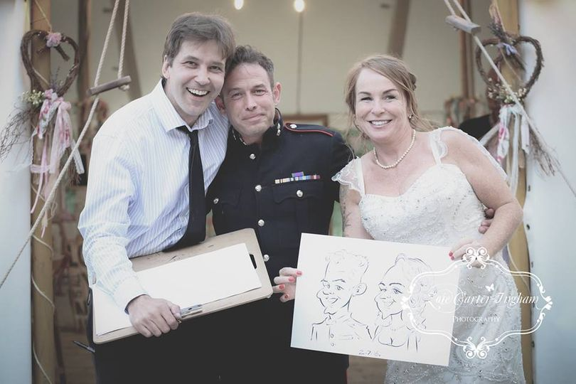 Dean with bride and groom