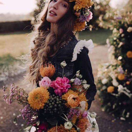 Boho bride with a crown