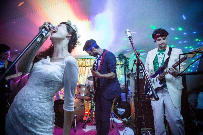 Bride singing white wedding