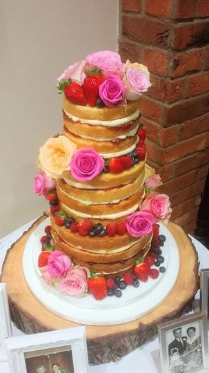 Summer Rose and Fruits Naked Cake