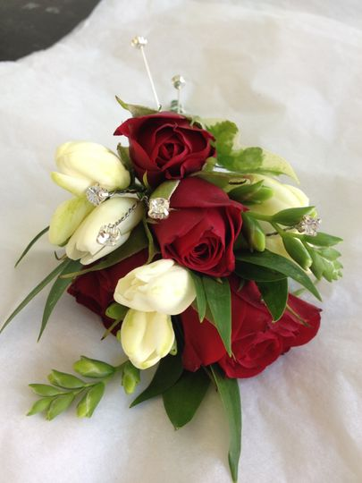 Rose and freesia corsage