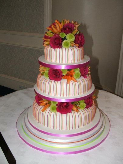Neon stripes with fresh flower