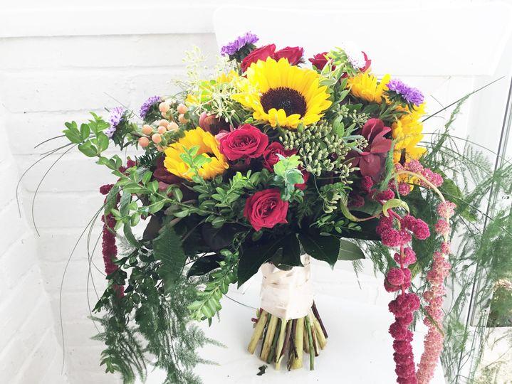 Garden bouquet of sunflowers