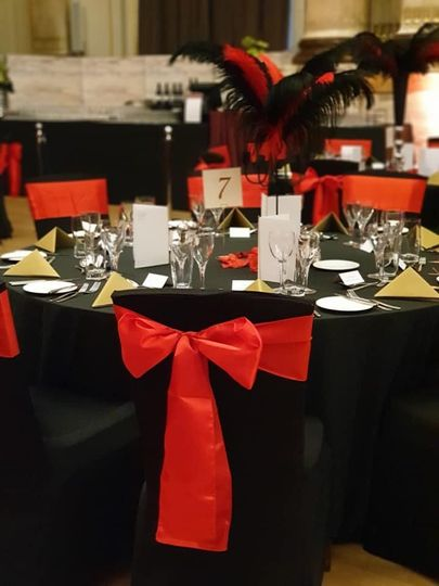 Red and black decor