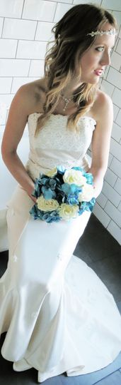 Lace flower fitted gown
