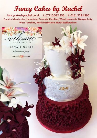 Maroon ruffles wedding cake