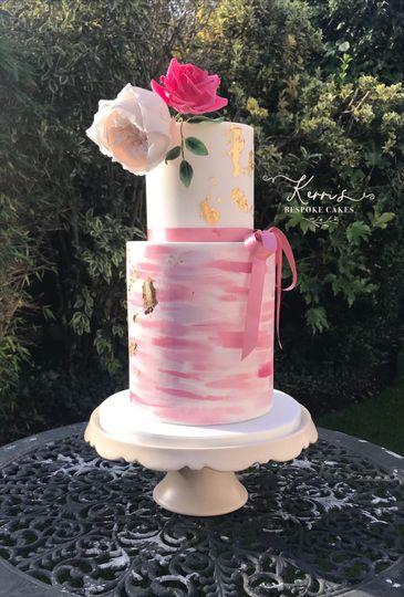 Handpainted pink cake