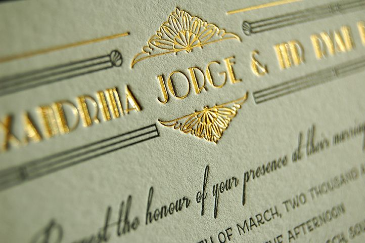 art deco gold and letterpress 5 4 110539