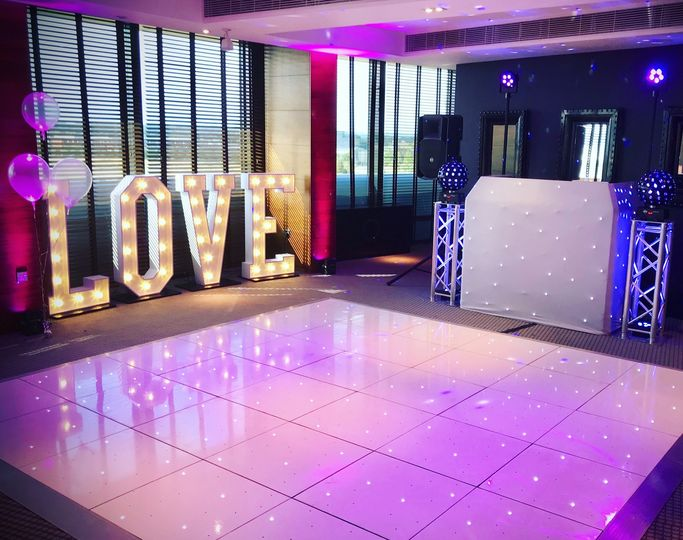 Star-lit dance floor and LED letters
