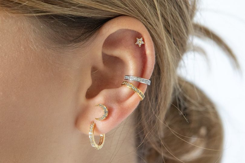 Hoops and Moons Ear Stack