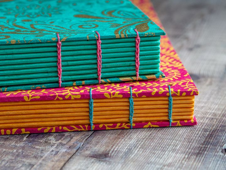 Wedding guest book with  contrasting spines