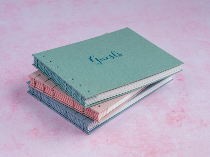 Hand-bound wedding guest books