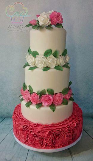 Roses and ruffles cake
