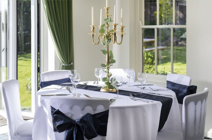 Navy, gold and green colour scheme